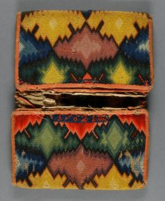 Flamestitch pocketbook c1762 Medium: Wool embroidery (bargello work) on canvas, silk lining, linen braid Dimensions: Open: 9 7/16 x 7 1/16 inches Closed: 4 3/4 x 7 1/16 inches  Accession Number: 1930-30-21