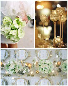 green, white, gold wedding