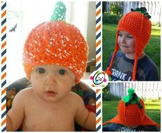 FREE crochet pattern: pumpkin beanie for toddler to adult.