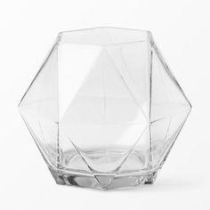 Geometrisk vas, 19 cm, transparent