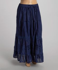 $12.99 Blue Eyelet Peasant Skirt - Plus by Lebaz #zulilyfinds love the