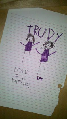 Forget campaign photos, Trudy's depiction of her and me is spot on!