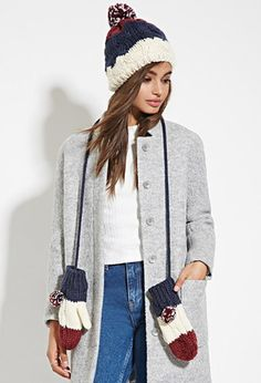 Colorblocked Beanie and Mitten Set   Forever 21 - 2000145437