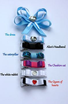 """Belle's Bows - Inspired By """" Alice in wonderland """" collection. set of 7 lined hair bows. girls Alice in wonderland hair clips set."""