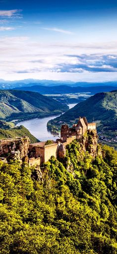 Scenic landscape with Aggstein Castle ruin and Danube river at sunset in Wachau Valley near Vienna, Austria | 30+ Truly Charming Places To See in Austria