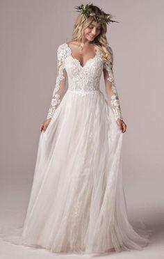 Long Sleeve Wedding, Long Wedding Dresses, Boho Wedding Dress, Wedding Gowns, Tulle Wedding, Wedding Dress Sleeves, Unique Colored Wedding Dresses, Wedding Dress Big Bust, Long Sleeve Bridal Dresses