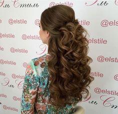 Big curls, half up half down wedding hairstyles