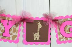 Giraffe Name Banner Baby sign Baby shower sign by lisamarDesigns, $25.00