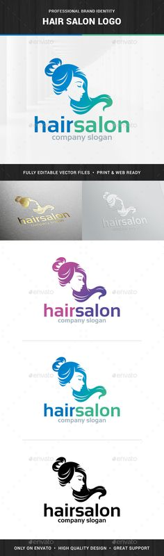 Hair Salon  Female Logo — Photoshop PSD #print #silhouette • Available here → https://graphicriver.net/item/hair-salon-female-logo/15391985?ref=pxcr