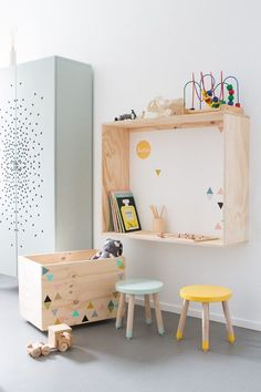adorable raw wood and pops of colour