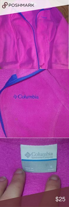 Girls Columbia Jacket🎀 EUC neon pink with royal blue trim. Size S (7/8)   My daughter's name is written on the inside tag due to school policy. Columbia Jackets & Coats