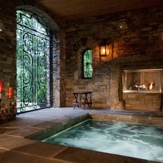 Medieval Home Decorating Design Ideas, Pictures, Remodel and Decor Jacuzzi Room, Indoor Jacuzzi, Custom Home Builders, Custom Homes, Home Spa Room, Hot Tub Room, Deco Nature, Luxury Pools, Pool Designs