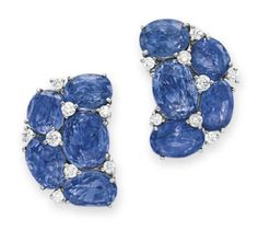 Lot 30 - A PAIR OF SAPPHIRE AND DIAMOND EAR CLIPS, BY VERDURA