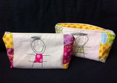 Personalised Zipped Make-up Bag/Pouch with Your Child's Art - perfect Mother's Day Gift - Handmade To Order