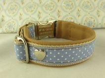 """Hundehalsband """"Herzbub"""" hellblau Punkte Breite 3cm"""