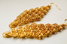 gold chainmaille earrings chain maille by LumaHandmadeJewelry Dangle Earrings, Crochet Earrings, Etsy Handmade, Handmade Gifts, Body Chains, String Of Pearls, Chainmaille, Unique Gifts, Dangles