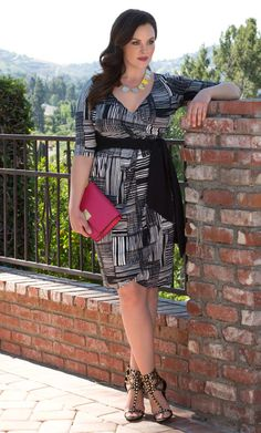 Get your Kiyonna plus size Harlow Faux Wrap Dress in a modern print for an unbeatable price.  Explore more made in the USA sale items at www.kiyonna.com.  #KiyonnaPlusYou