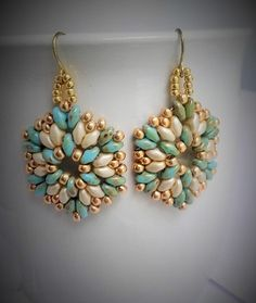 superduo beaded earrings in blue turquoise, cream and gold.