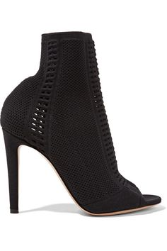 Gianvito Rossi | Vires perforated stretch-knit peep-toe ankle boots | NET-A-PORTER.COM