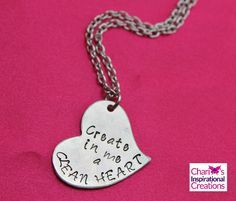Psalm 51:10 Create in Me #Scripture Hand stamped heart necklace by CICinspireme