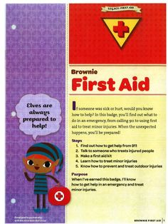 First Aid Badge Requirements girlscouts scouts brownie first aid badge - Brownie Girl Scout Brownie Badges, Junior Girl Scout Badges, Girl Scout Juniors, Brownie Girl Scouts, Girl Scout Swap, Girl Scout Leader, Girl Scout Troop, Scout Mom, Cadette Badges