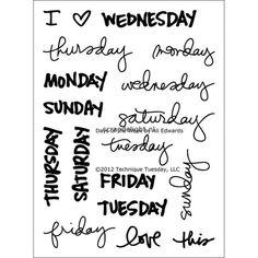 Technique Tuesday clear stamp - Days of the Week | Scrapdelight Scrapbookwinkel, de winkel voor al je scrapbook en card producten