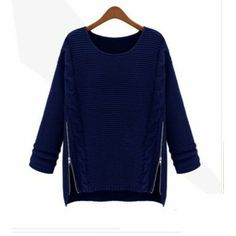 zipper o-neck loose pullover sweater