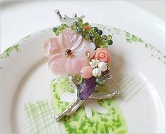Hanabe Women Handmade Mother of Pearl Crystal Cultured Pearl Luxury Beaded Brooch Pin Pendant Pink *** Be sure to check out this awesome product. (This is an affiliate link) #JewelryDesign