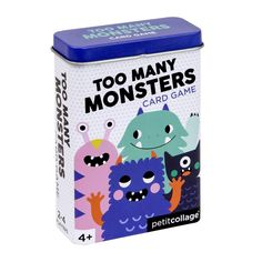"""Too Many Monsters is fast and monstrous fun! Collect as many creatures as you can to win the game in this version of the card game """"Snap"""" from Petit Collage. Cards come in a nifty ready-to-gift tin box perfect for travel. Perfect for players. Ages 4 & up Nativity Advent Calendar, Game Card Design, Classic Card Games, Fortune Cards, Monster Games, Christmas Train, Christmas 2019, Tin Gifts, Tin Boxes"""