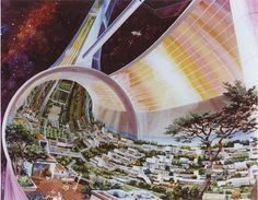 Images of a toroidal space colony from NASA-commissioned conceptual artwork in the Agriculture Durable, Science Fiction, Space Colony, Shell Game, Spiegel Online, Decoration Originale, Carl Sagan, 1975, To Infinity And Beyond