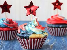 Red White and Tie-Dyed Cupcakes
