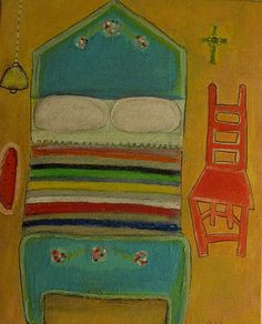 Naive+Acrylic+Painting+of+Mexican+Room+on+Canvas+Board
