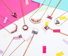 A selection of our new rose gold necklaces, ready for the Summer  geometric eco-friendly printed birchwood, organically sourced, with original print design and rose gold plated backings. Made in London  #jewellery #handmade #rosegold #printdesign #textiles #rosegoldjewellery #jewelry #rosegoldjewelry #geometric #geometricjewellery #gold #colourful #pastels #pattern #madeinlondon #fashion #festival #fashionweek #fashionphotography #unique #london #ecofriendlyfashion #style #trending #ontrend