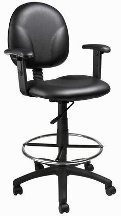 Boss Office Products B1691-CS Boss Black Caressoft Drafting Stools W/Adj Arms & Footring