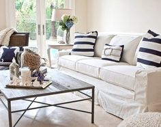 Slipcovered Furniture 101 -Sofa with Coastal Stripe Pillows