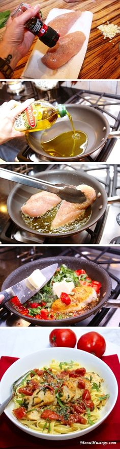 Tomato Basil Chicken over Pasta. The sauce is really light - so if you prefer heavier sauces you may want to add a little tomato sauce to the pasta before serving the tomato basil chicken over it. Think Food, I Love Food, Food For Thought, Good Food, Yummy Food, Tasty, Great Recipes, Dinner Recipes, Favorite Recipes