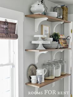 Open Shelves in the Kitchen. Grey Owl paint on the walls, complimented with white and wood tones