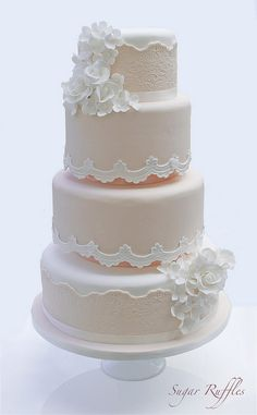 Peach Lace Wedding Cake ~ we ❤ this! moncheribridals.com ~ #weddingcake