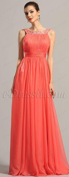 eDressit Sparkled Halter Coral Formal Dress Evening Dresses