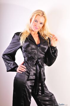 Yasmine - Satin Fetish - LoveSatin Satin Kimono, Silk Satin, Satin Jumpsuit, Black Satin, Formal Wear, Silk Clothing, Leather Jacket, Satin Blouses, Womens Fashion