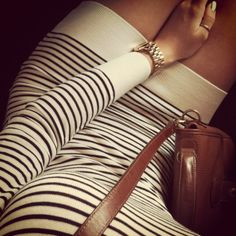 LOVE stripes and Cognac theme...I want to wear all of this...even the big gold watch!