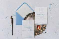 Wedding Invitation on cotton paper, packed in a delicate velum wrap, delicately tied with fine twine. Calligraphy fonts complete perfect this elegant suite. A touch of watercolor, a gentle organic wreath and many shades of blue make this wedding invitation card the one to choose for a charming wedding. Wedding Invitation Design, Wedding Stationery, Envelope Liners, Calligraphy Fonts, Wax Seals, Personalized Wedding, Shades Of Blue, Twine, Wedding Day