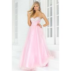 A-line ball gown sweetheart beaded tulle long pink sweet sixteen dress