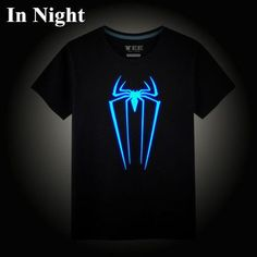 Ironman Superman League of legends One piece Spiderman Tokyo Ghoul Neon Print tee t-shirt