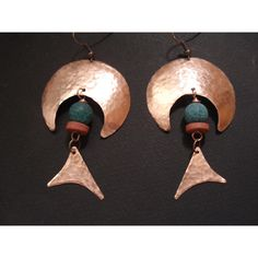 Crescent Copper Earrings, Hammered Copper Dangle Beaded Earrings,... ($34) ❤ liked on Polyvore featuring jewelry and earrings