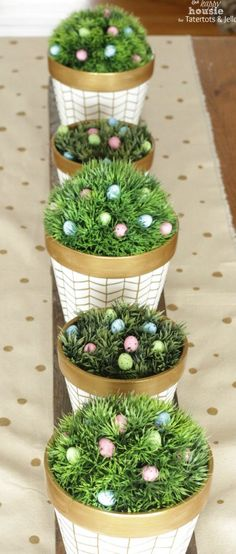 White and Gold Herringbone Pots for Spring 3 by the happy housie for tatertots and jello