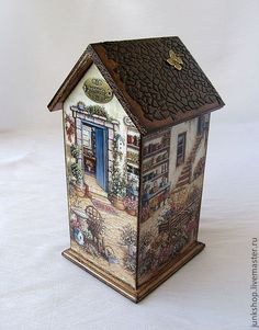 Дачный Tin House, Arte Country, Decoupage Box, Cute House, Tea Box, Clay Art, Bird Houses, Painting On Wood, Decorative Items