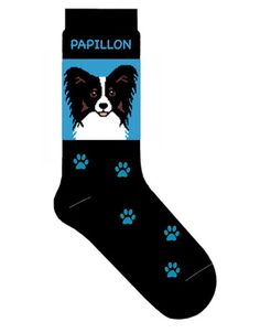 Papillon Dog Socks Lightweight Cotton Crew Stretch Egyptian Made $9.99 at DogLoverStore.com