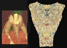 c1595, English Noblewoman Wearing an Embroidered Bodice and Surviving Elizabethan Embroidered Bodice Piece