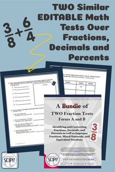 These two EDITABLE math tests include identifying and converting fractions, decimals, and percents as well as improper fractions, mixed numerals, and equivalent fractions. Included are questions based on Bloom's Taxonomy as well application (word) problems. These tests are designed as cumulative tests for the end of the first or second chapter on fractions. Answer keys are included. The tests are not saved in a PDF format so you can adapt it to your class needs. Improper Fractions, Dividing Fractions, Teaching Fractions, Equivalent Fractions, Math Test, Math Concepts, Percents, Teaching Strategies
